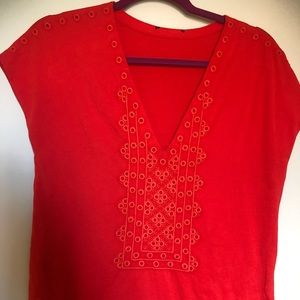 Tops - Red Embroidered V Neck Shirt